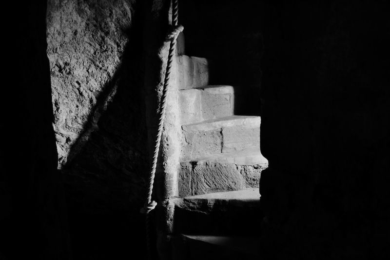 Spooky stairs at Goodrich Castle. Spooky Stairs Darkness And Light Dark Light And Shadow Light Blackandwhite EyeEm Best Shots Visiting Castle c/o Tom Smith