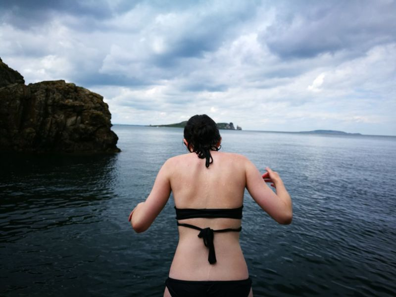 EyeEm Selects Ocean Jumping Thrill Howth Rocks Islands Bikini Scared To Jump Be Brave