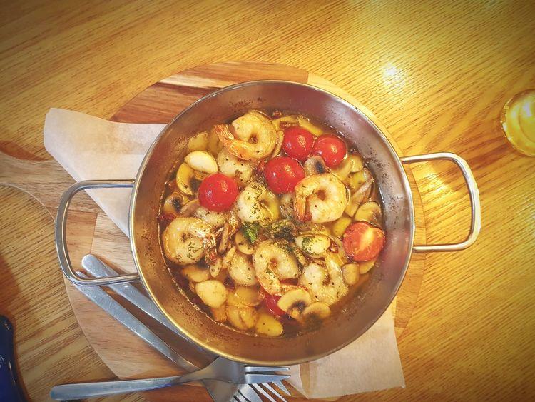 Gambas Al Ajillo Bar Snack Food Gambas Shrimps Table High Angle View Close-up