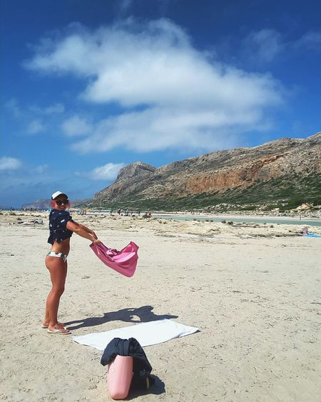 Beach Summer Sand Vacations One Person Sky Cloud - Sky Full Length Day Outdoors Leisure Activity Standing People Sunlight Adult One Woman Only Nature Adults Only Young Adult Sea Mobile_photographer Balos Lagoon Crete Scenics Beauty In Nature