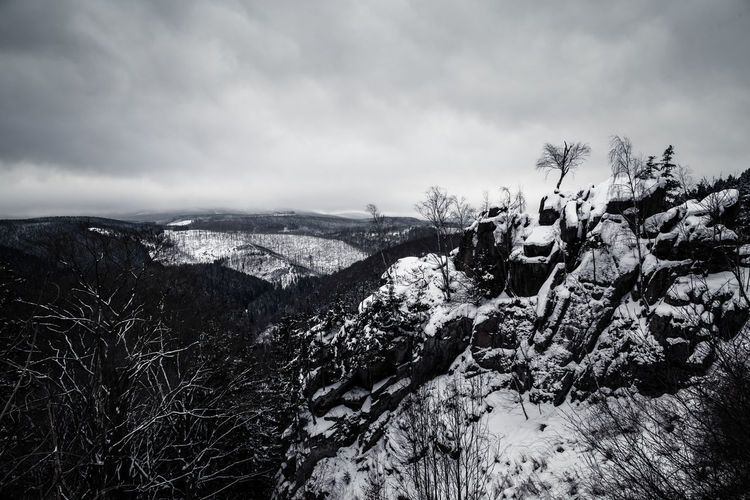 Rabenklippe Rabenklippen  Beauty In Nature Brocken Cloud - Sky Cold Temperature Day Germany Harz Harzmountains Landscape Mountain Nature No People Outdoors Scenics Sky Snow Tranquil Scene Tranquility Tree Weather Winter