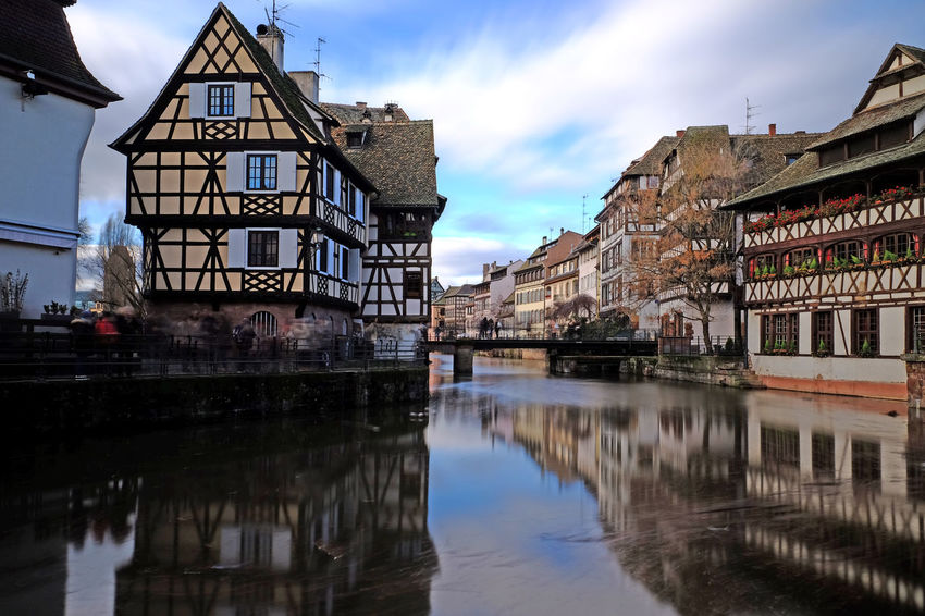France Houses Landscape_Collection Strasbourg Architecture Building Exterior Buildings Built Structure City Cloud - Sky Day Europe Historical Landscape Long Exposure No People Old Outdoors Petit France Reflection Water Waterfront