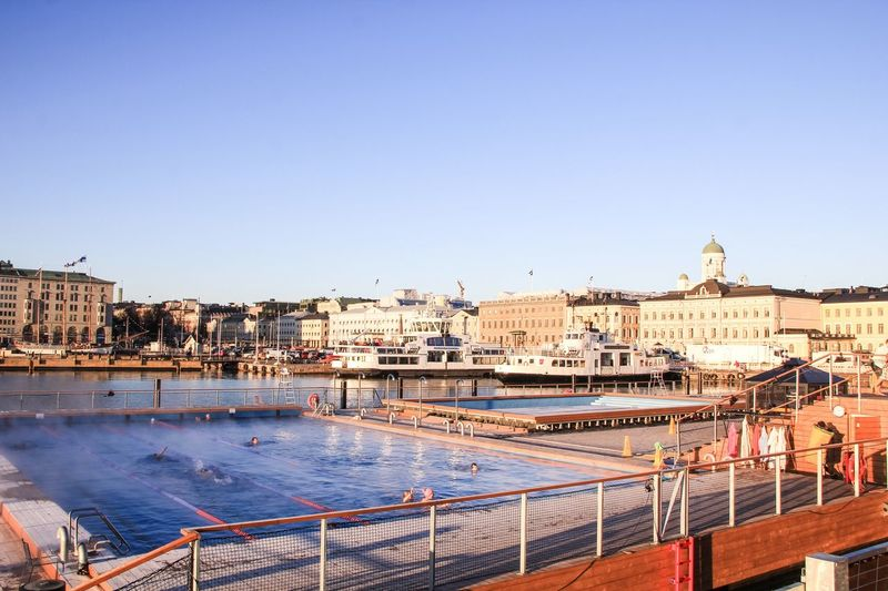 Architecture Building Exterior Built Structure Copy Space Clear Sky City River Water Waterfront Travel Destinations Outdoors Bridge - Man Made Structure Cityscape Place Of Worship Religion Sky Day Open Pool Helsinki