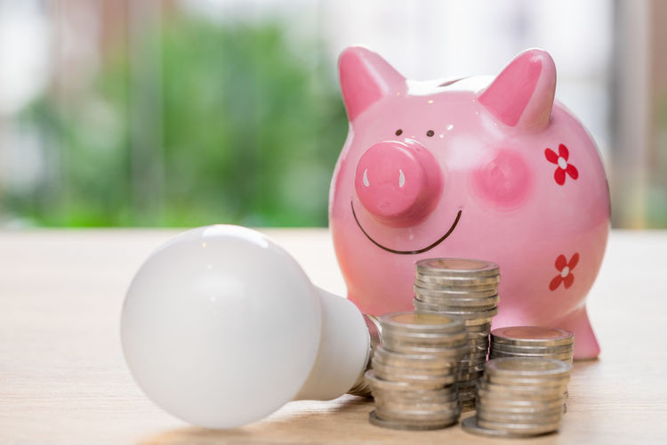 Close-Up Of Coins By Light Bulb And Piggy Bank On Table