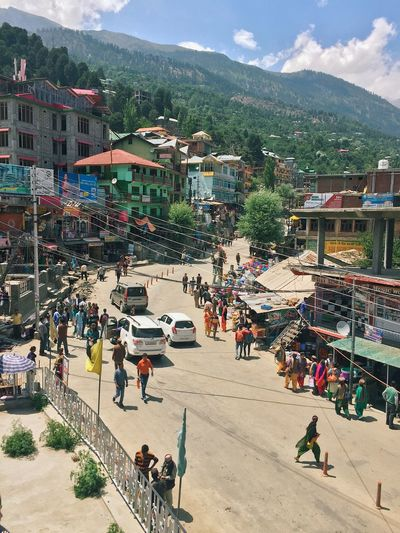 July 2017 - Himachal Pradesh, India - view on Reckong Peo town with unidentified people - the place of permits to enter beautiful Spiti Valley. Mountain People Outdoor Day Road Sky Architecture Sunny High Angle View Town Village Spiti Village Life Himalayas Rocks Himachal Pradesh Permit Border Vacation Travel Tourism Landscape Vertical Landmark