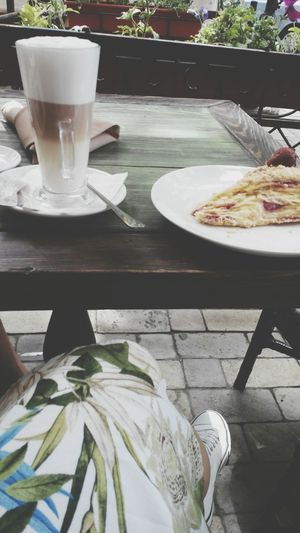 Ukraine Odessa Lunch Break Coffee ☕ Latteand Cake♥ with Strawberry. white Converse & Lovely Dress . And so Beautiful Day