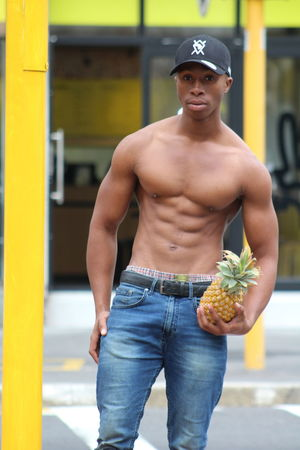 Casual Clothing Day Focus On Foreground Front View Jeans Leisure Activity Lifestyles Looking At Camera Males  Men One Person Outdoors Portrait Real People Shirtless Standing Three Quarter Length Yellow Young Adult Young Men The Fashion Photographer - 2018 EyeEm Awards