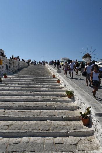Aegean Aegean Islands Aegean Sea Blauer Himmel Blue Sky Greece GREECE ♥♥ Hellas Kykladen Kyklades Mykonos Mykonos,Greece Places Platz Stairs Straße Street Treppe ägaisches Meer ägäis ägäische Inseln