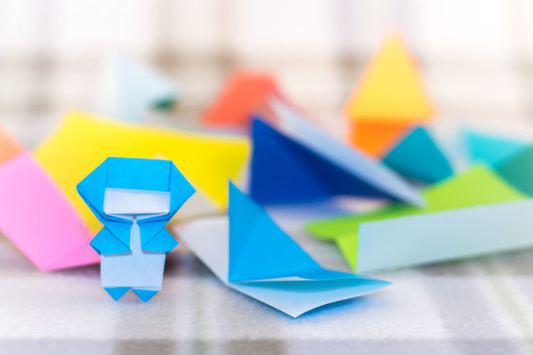 Childhood Close-up Creative Day Focus On Foreground Indoors  Makeing Multi Colored Ninja No People Origami Paper