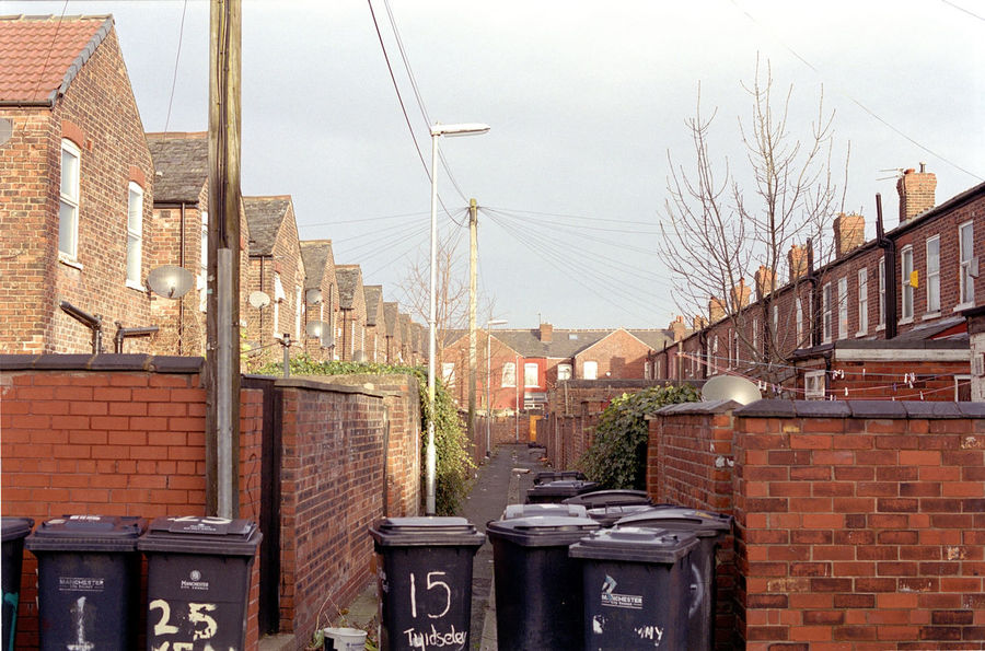a manchester back alley Alley Architecture Back Street Back Yards Balc Alley Bins Brick Building Exterior City Life Dustbins Enclosed Garbage Houses Manchester Moss Side Mossside Obsolete Side Street Street Waste Wheelie Bins Wheelybins