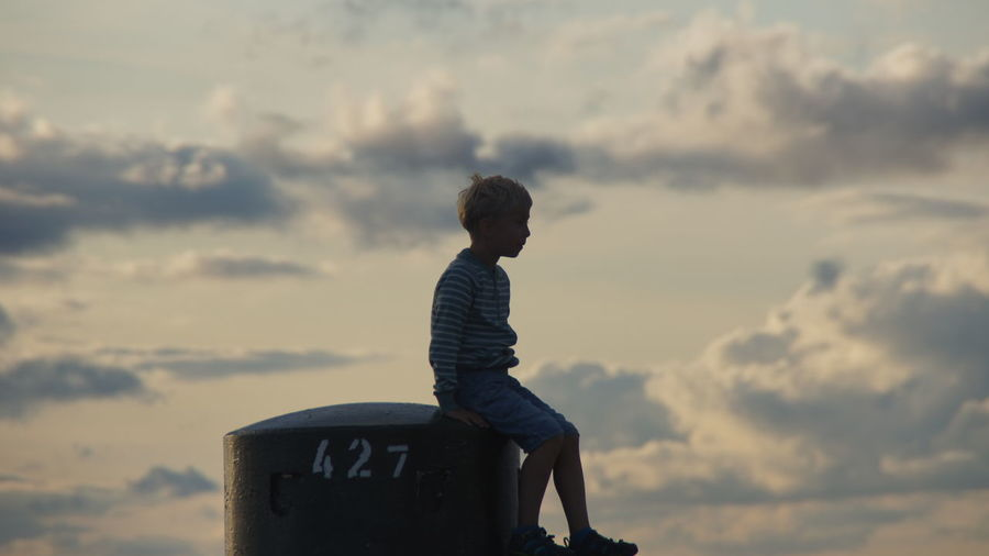 malmo #sweden #son #child #blonde Standing City Adventure Sky Casual Clothing Cloud - Sky Sunset Posing Idyllic