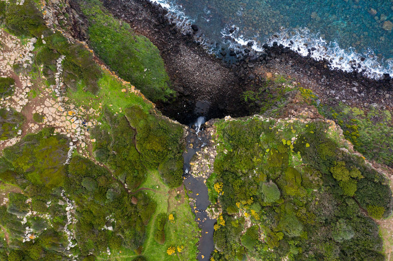 High angle view of water flowing through rocks