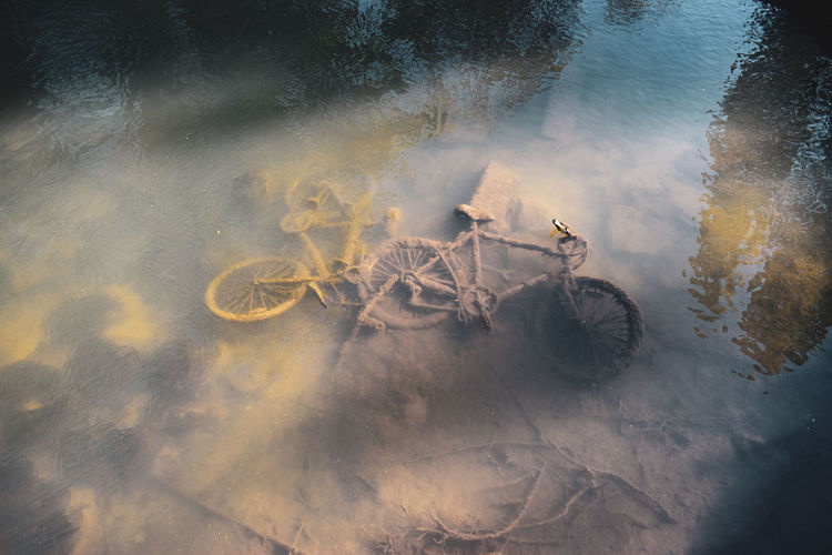 High angle view of bike in ruver during spring