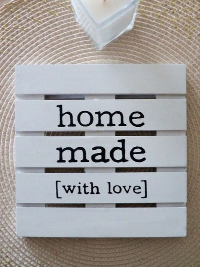 Home Made With Love White Colors Candle Text Love Home Made Perfect Wood - Material Item White Cream Close Up