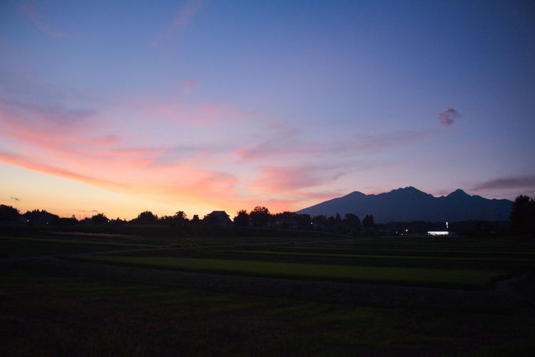 colorful sunset Clouds Clouds And Sky Landscape Mountain Nature Nature_collection Orange Color Ricefield Rural Silhouette Sky Sky And Clouds Sunset Sunset_collection Urban Yamanashi ピンク 八ヶ岳 夕焼け 空 自然 雲