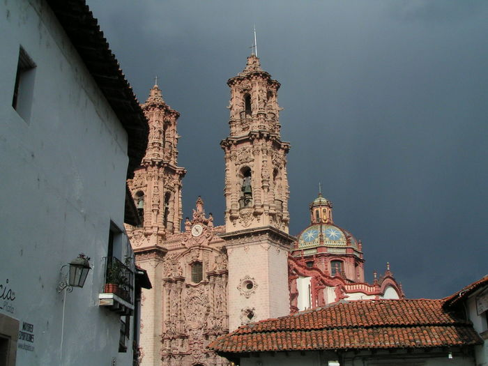 Santa Prisca Cathedral, Taxco Mexico Mexico Architecture Barroque Bell Tower Building Exterior Built Structure Catholic Church Colonial Architecture Day Low Angle View No People Outdoors Place Of Worship Religion Roof Tiles Sky Spirituality Travel Destinations