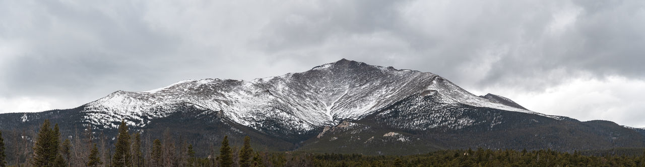 Mt. Meeker, (13,911 feet) Rocky Mountain National Park. Alpine Colorado Mt. Meeker Panorama Rocky Mountain National Park The Great Outdoors - 2018 EyeEm Awards Trees Beauty In Nature Cloud - Sky Cold Temperature Coniferous Tree Environment Forest Landscape Mountain Mountain Peak Nature No People Outdoors Panoramic Photography Scenics - Nature Snow Wilderness