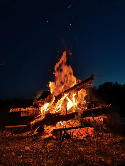 Burning fire in the dark