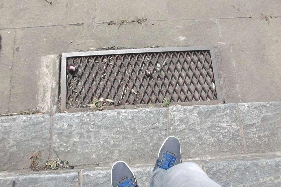Blue Down Ladder Ladder Steps Manhole  Hatch Person Action Shoe Personal Perspective Low Section Pair Canvas Shoe Human Body Part Human Leg People Outdoors