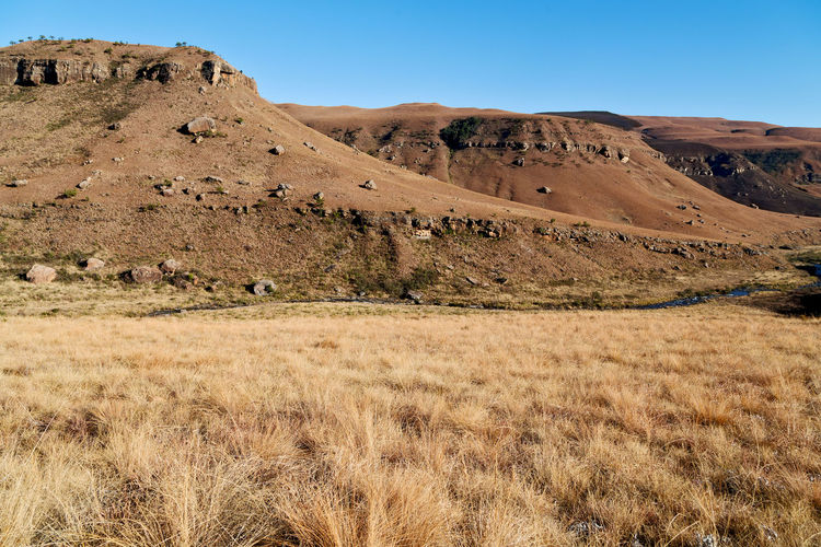 Scenic view of arid landscape against clear sky