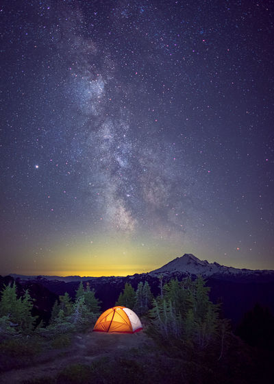 Scenic view of tent against sky at night