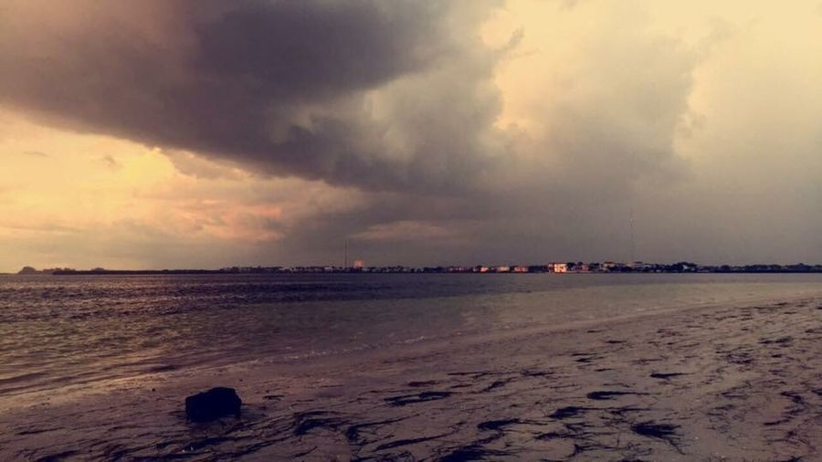 Cold Front Storm Clouds Sky Water Land Beach Sunset Tranquility Dusk