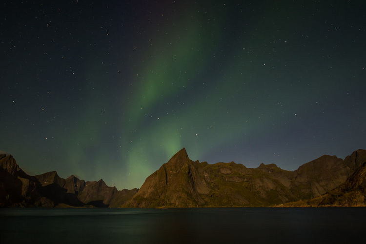 Aurora Borealis Northern Lights EyeEmNewHere Astronomy Beauty In Nature Green Color Lofoten Mountain Night Scenics - Nature Waterfront