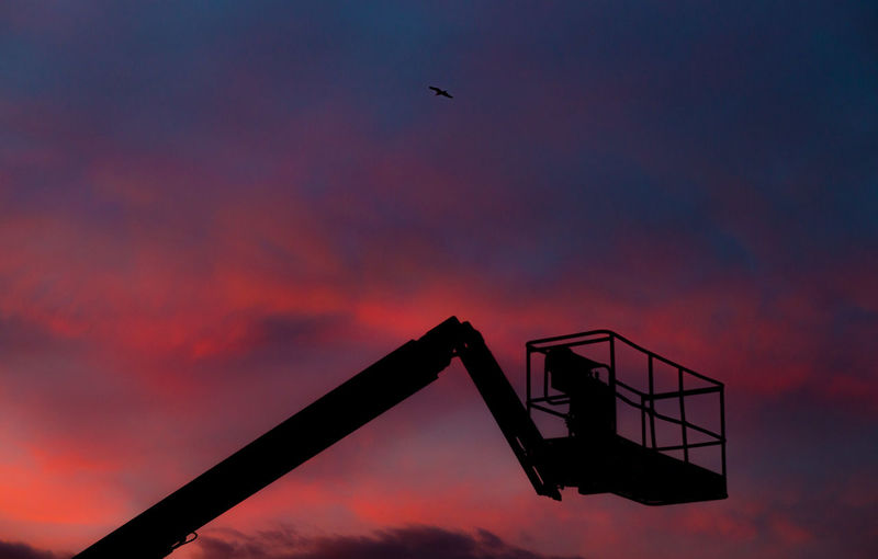 Low angle view of silhouette bird flying against sky during sunset