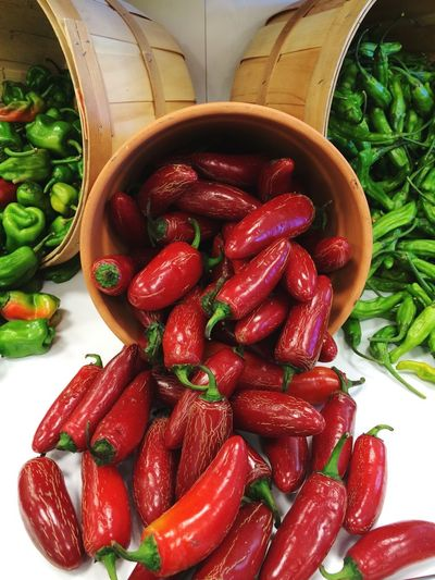 Peppers Hot Peppers Fresh Produce Fresh Red Red And Green Symmetry Bushel Baskets