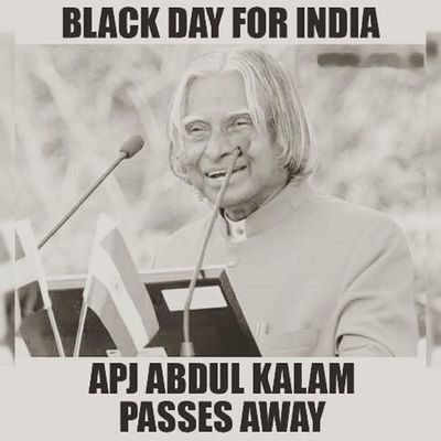 Missile man of India APJ Abdul Kalam passes away 😢 Apjabdulkalam Ripkalam Blackday