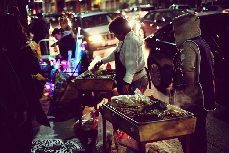 Street Photography Street Foods To Night >>> Car Food Sell Food Traffic Jam