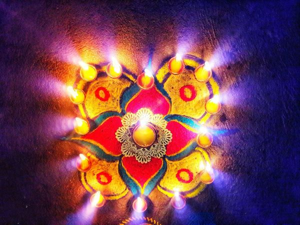 Diwali festival in india Lights Festival Multi Colored Illuminated Vibrant Color Celebration Traditional Festival Full Frame No People Close-up Diwali Indoors  Holi Day Arts Culture And Entertainment People