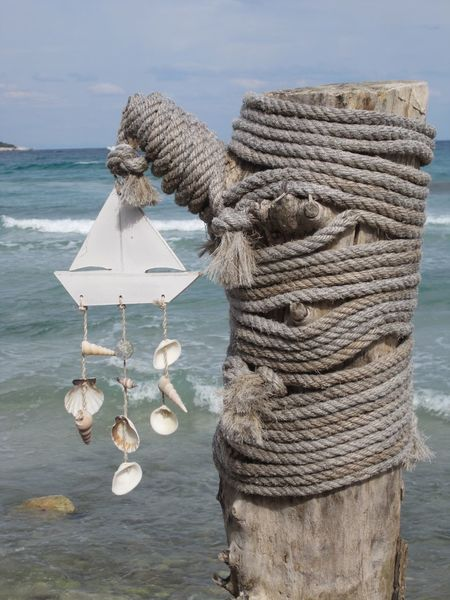 Rope Water Sea No People Seaside Waves Rolling In Old Ropes Old Rope Tree Trunk Rope Rope Art Wind Chimes GREECE ♥♥ Thassos Thassos, Greece Thassos Island Sea Shells Sea Shells 🐚
