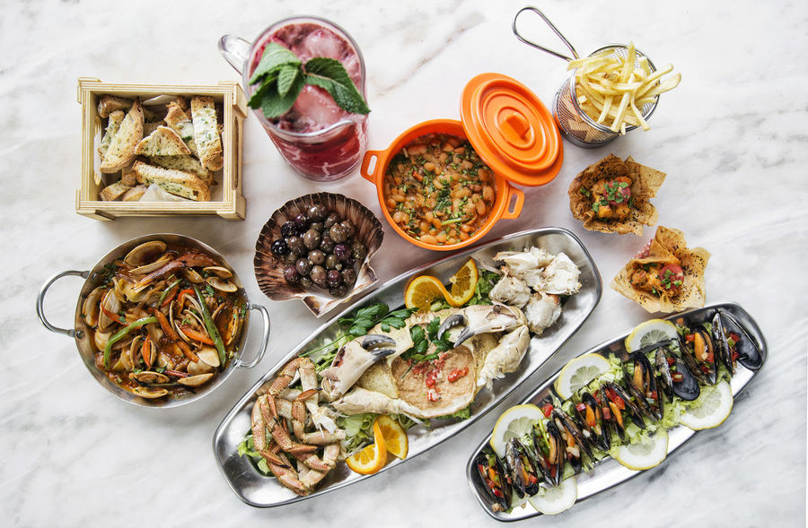 portuguese seafood meal set on table Meal Seafood Tapas Black Olive Bowl Choice Close-up Day Food Food And Drink Freshness Gourmet Gourmet Food Healthy Eating High Angle View Indoors  No People Plate Portuguese Food Ready-to-eat Seafood Set Meal Variation