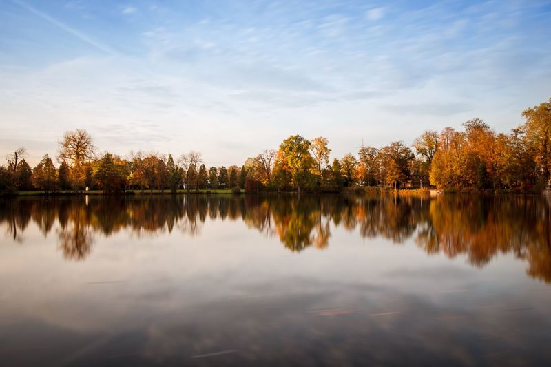 EyeEm Selects Reflection Tree Lake Water Nature Beauty In Nature Tranquil Scene Tranquility Scenics Sky Outdoors No People Autumn Cloud - Sky Langzeitbelichtung Monrepos Waterfront Day Sunset