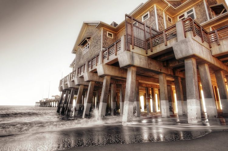 Architecture Built Structure Outdoors Outer Banks, NC Ocean Nature Landscape Pier Beach Atlantic Atlantic Ocean Ocean View Waves Seashore Tranquil Scene Vacations Sunshine