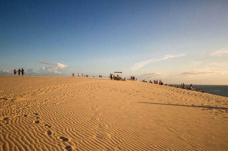 Desert Dune Dunes Jericoacoara Blue Sky Sand People On Dune