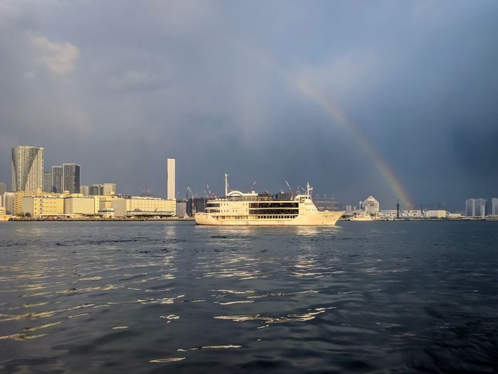 SYMPHONY TOKYO BAY CRUSE Tokyo Rainbow Sea And Sky Landscape Landscape_Collection Landscape_photography Taking Photos EyeEm Best Shots EyeEm Gallery From My Point Of View The Week on EyeEm Water Architecture Sky Building Exterior Built Structure City Cloud - Sky Building Cityscape Scenics - Nature Waterfront Sea