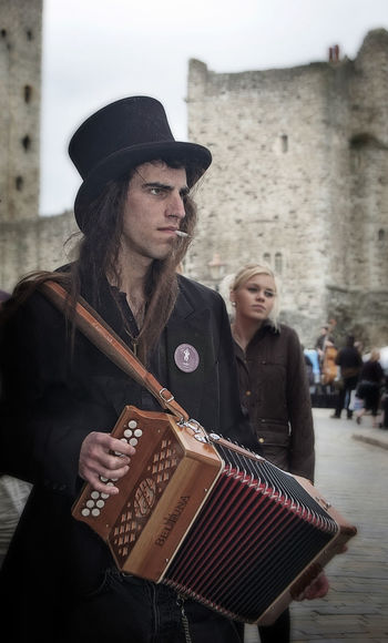 I 'aint wearing no bells or ribbons! Accordion Accordionist Castle Morris Dancers Musician Rochester Castle Rochester, Kent Smoking Sweeps Festival Up Close Street Photography