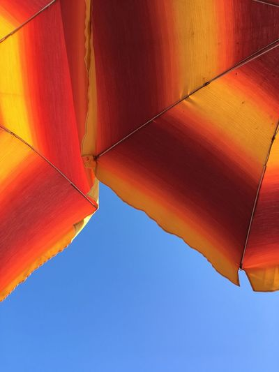 Low angle view of orange umbrellas against sky