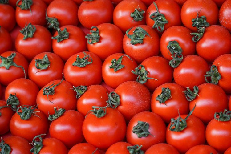 Full frame shot of organic tomatoes at market stall