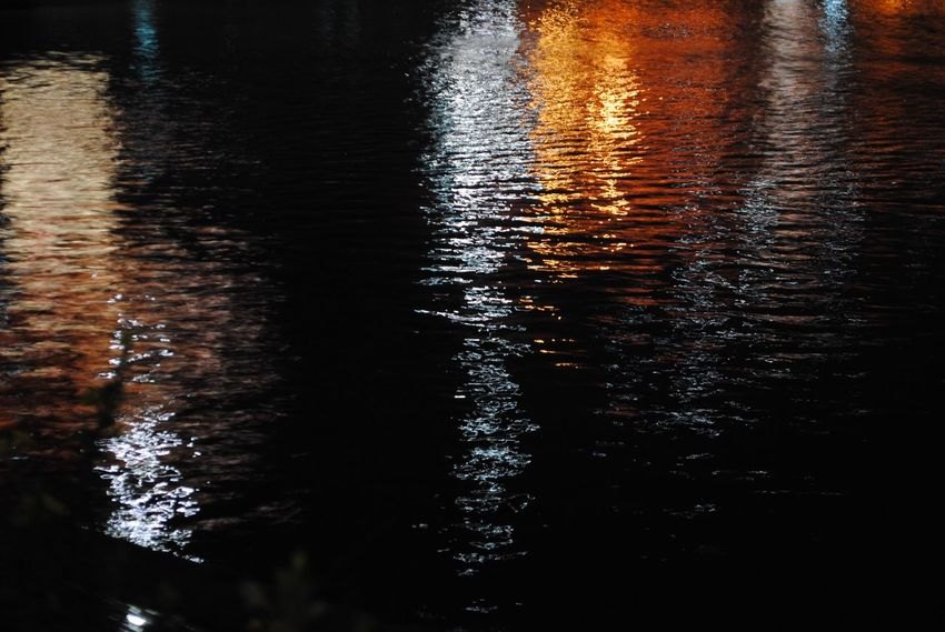 Water Nature Rippled Night Night Lights Night View River Red
