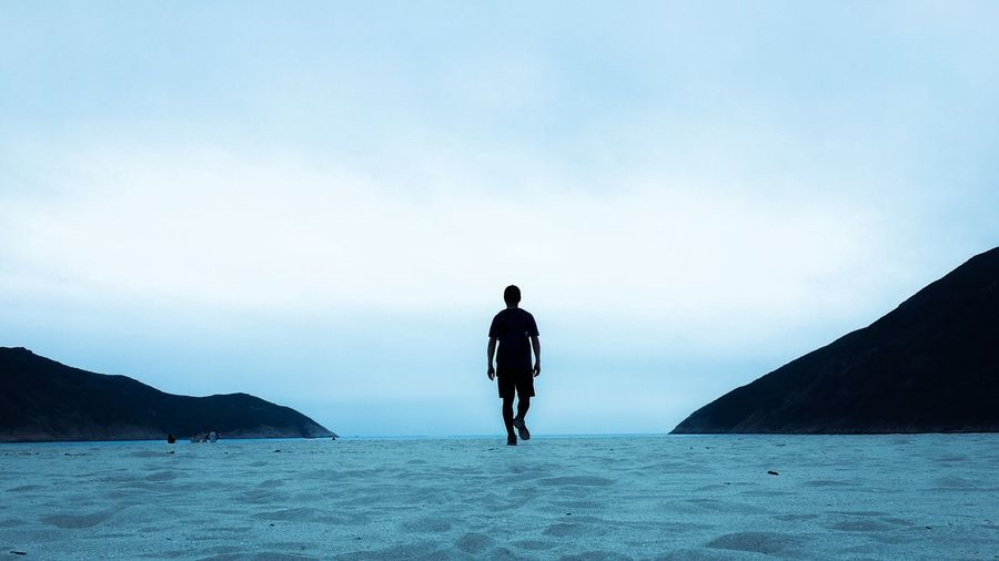 Rear View Of Man Walking On Sea Shore Against Clear Sky