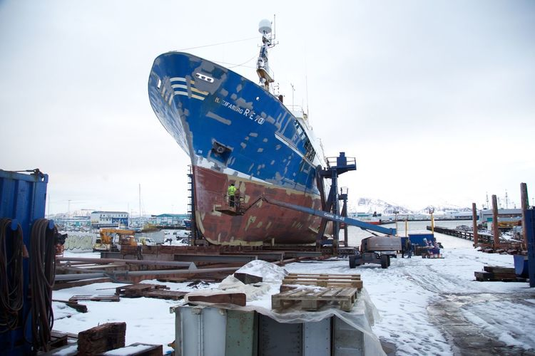 Boat Boat Yard Construction Site Fishing Iceland Industry Sea Ship Ship On Land Shipping  Shipping Yard Snow Structure Transportation Working