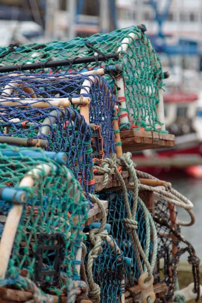 Fishing Industry Fishing No People Stack Day Close-up Outdoors Lobster Pots Harbour Harbourfront