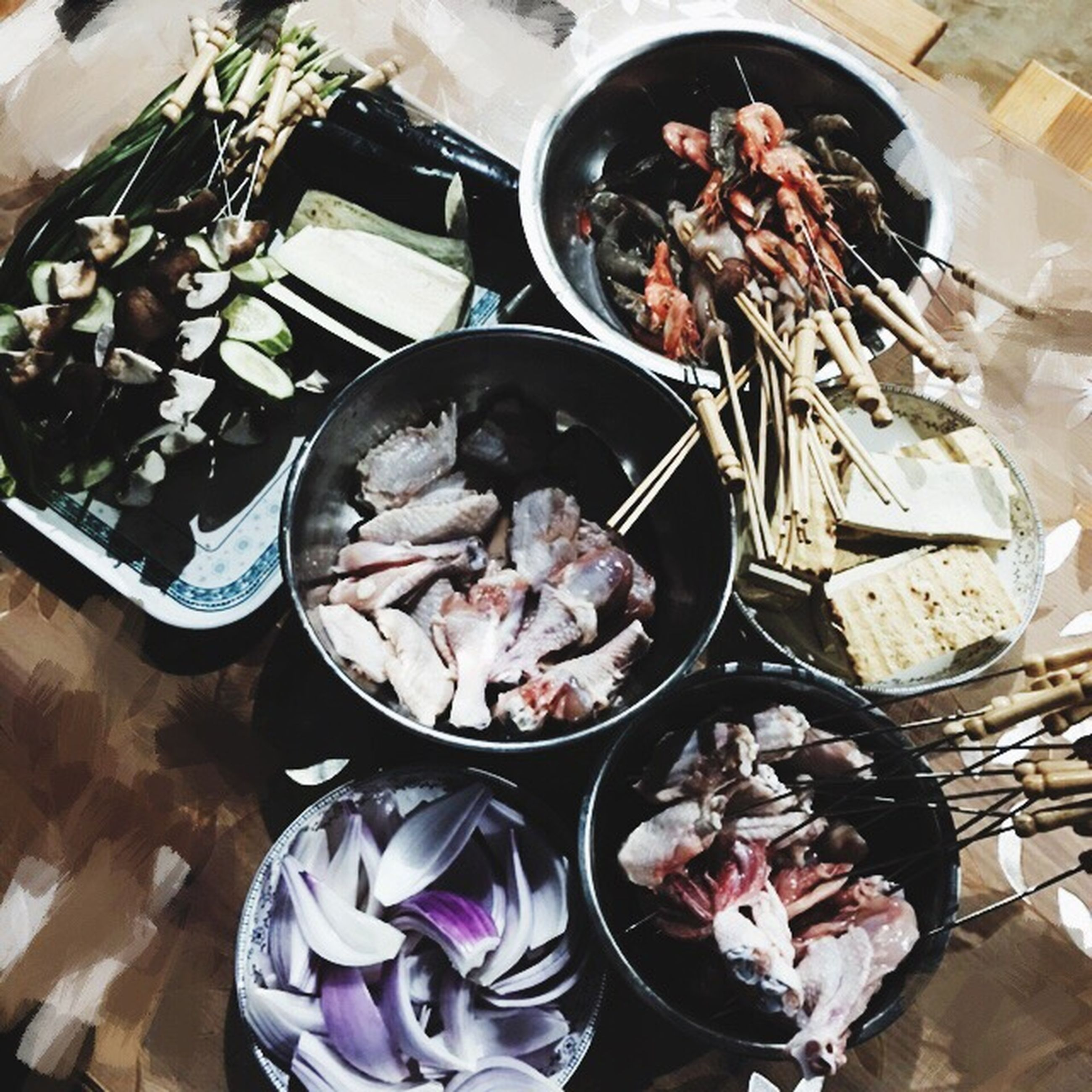 indoors, food and drink, freshness, food, high angle view, still life, variation, table, seafood, healthy eating, abundance, bowl, large group of objects, choice, flower, ready-to-eat, spoon, for sale, plate, preparation