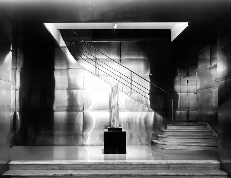 Building Interior Comega Symmetry Geometric Shape Staircase Metallic Surface Lobby Monochrome Black And White Architectural Detail Architecture Indoors  Built Structure No People Illuminated Day