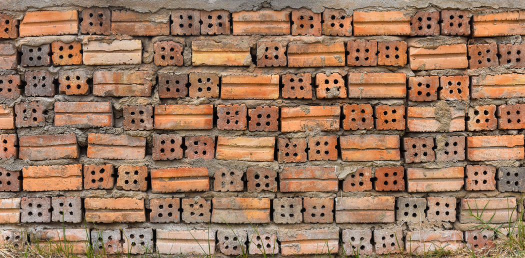Red brick wall texture background. by front side and back side.