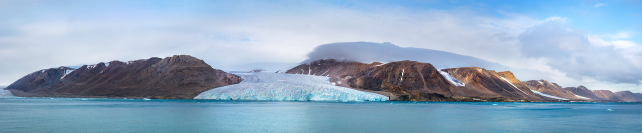 Scenic view of glacier and mountain against sky