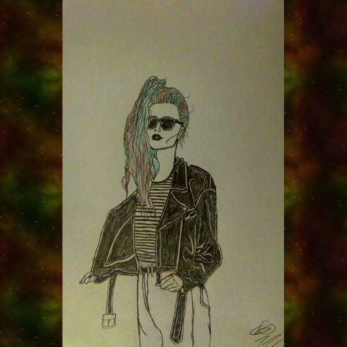 Art, Drawing, Creativity Pencil Drawing Hardwork Badass Girls Sunglases Black Jacket Hairstyle Color Cool ArtWork